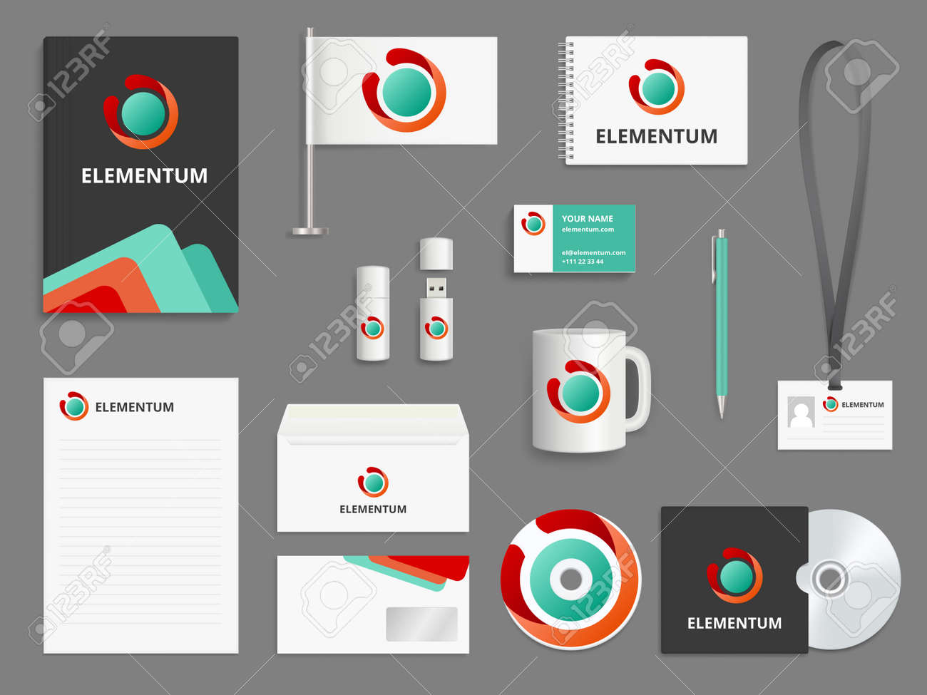Business identity. Branding realistic vector mockup folder envelope cover for cd blank business cards check boxes usb pen. Illustration of corporate office stationary, brand envelope and flag - 168222094