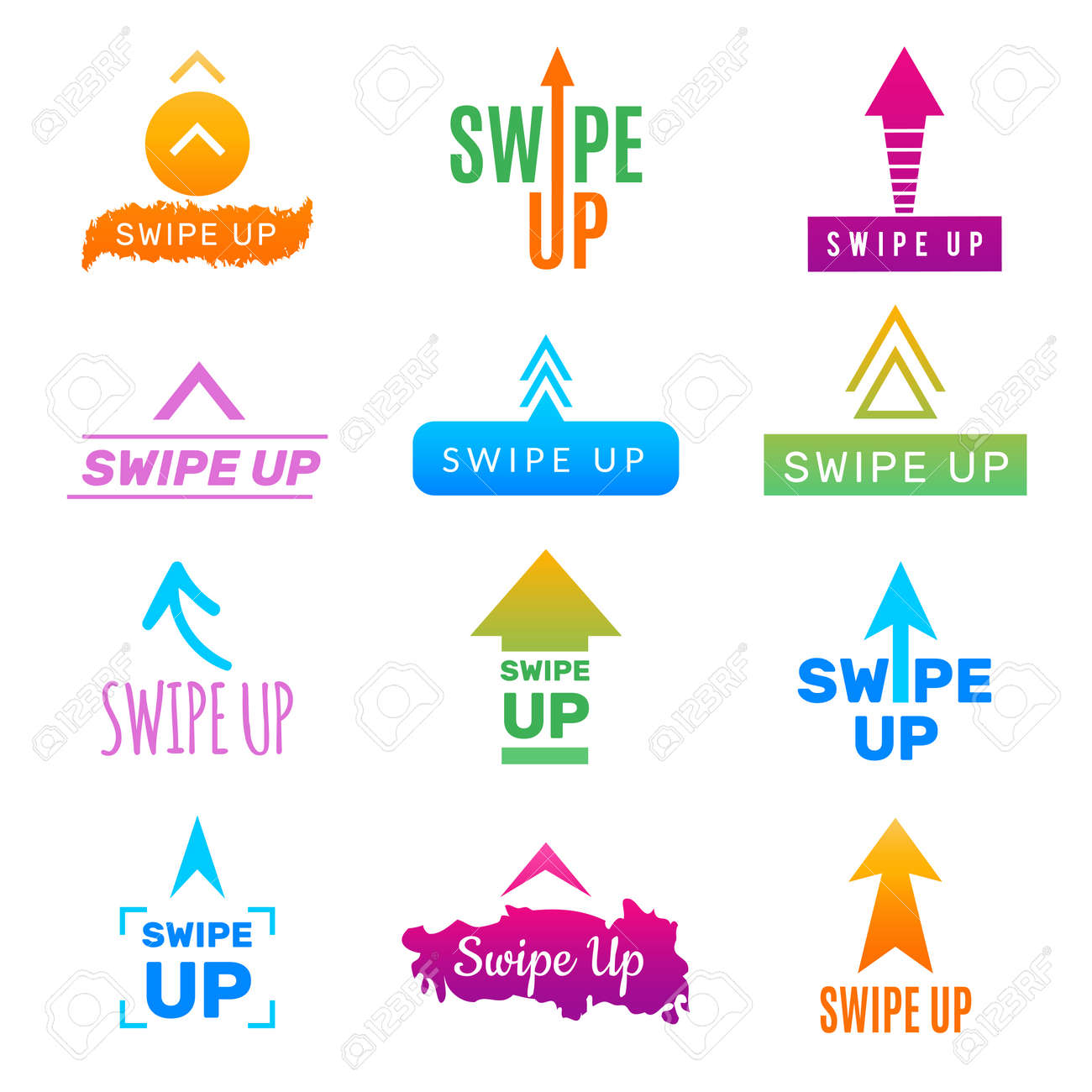 Insta swipe up. Ui app design template screen buttons and link for social web project photo blog trendy colors vector picture. Illustration of swipe up for social media - 168222776