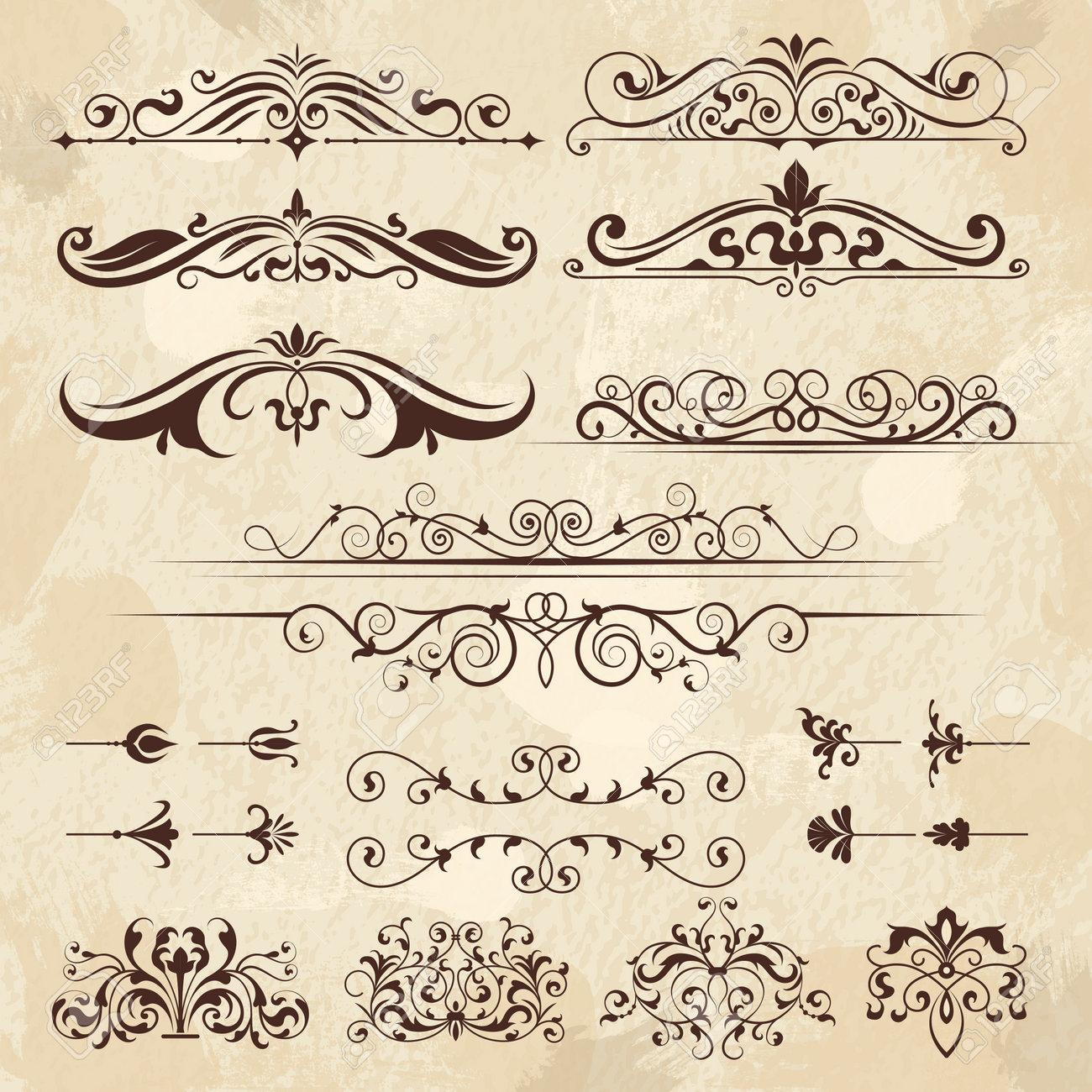 Vintage frame elements. Calligraphy borders and corners filigree classic retro vector design template. Illustration of menu decoration, ornament and filigree decorative frame border - 168222783