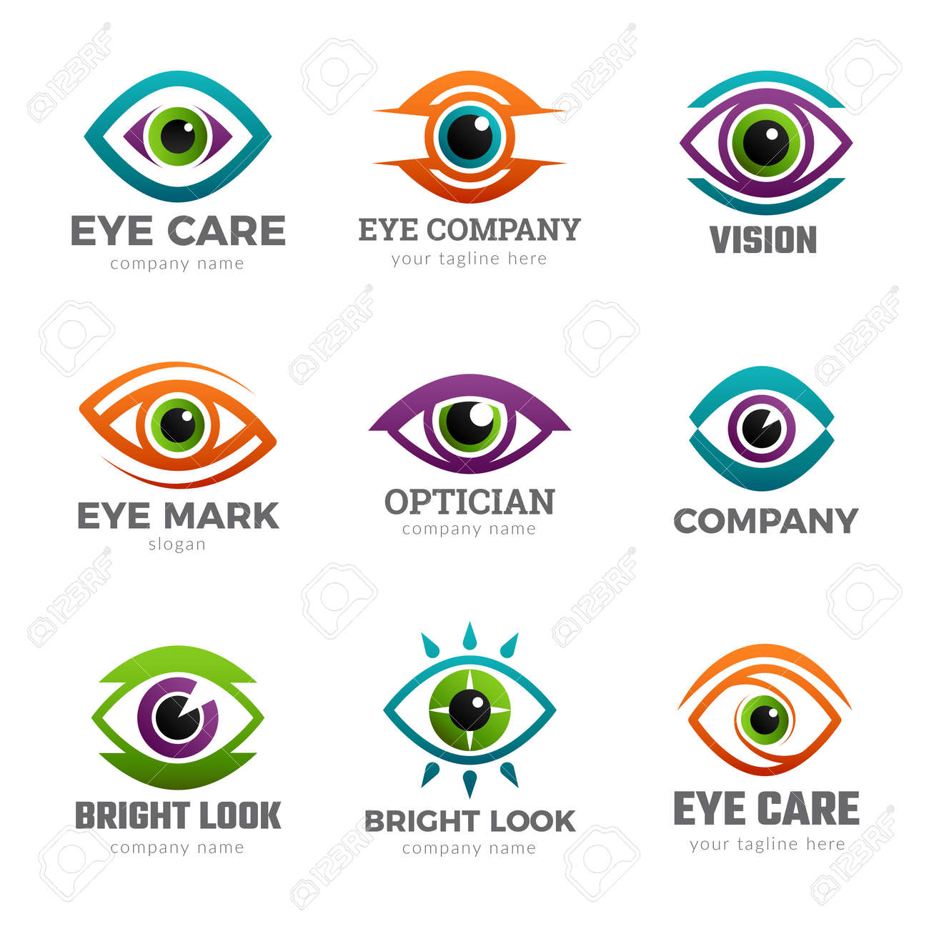 Eyes logo. Optical symbols for ophthalmology clinic clean vision recent vector collections - 168736914