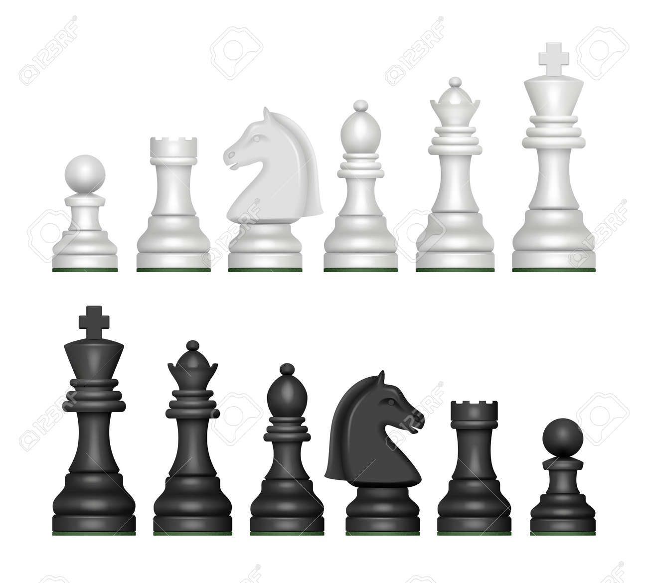 Chess figures. Strategy game symbols pawn horse knights king and queen decent vector realistic pictures - 168736915