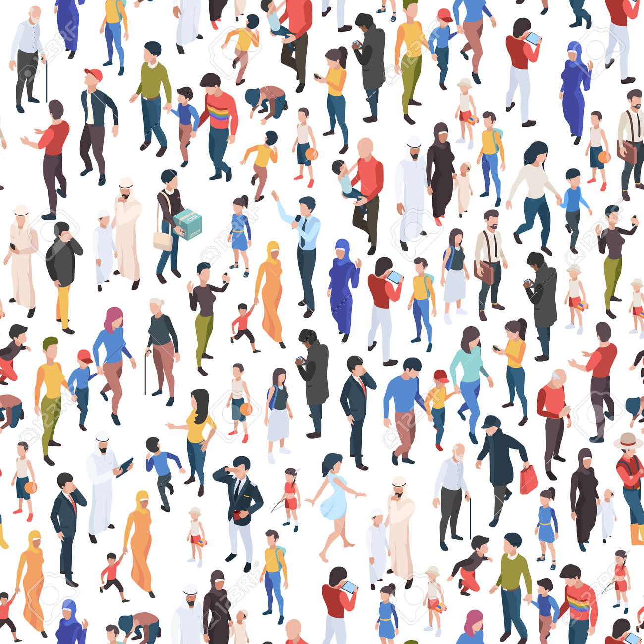 Crowd isometric. Various nationalities and ages male and female persons demographic group garish vector business concept seamless background - 168736977
