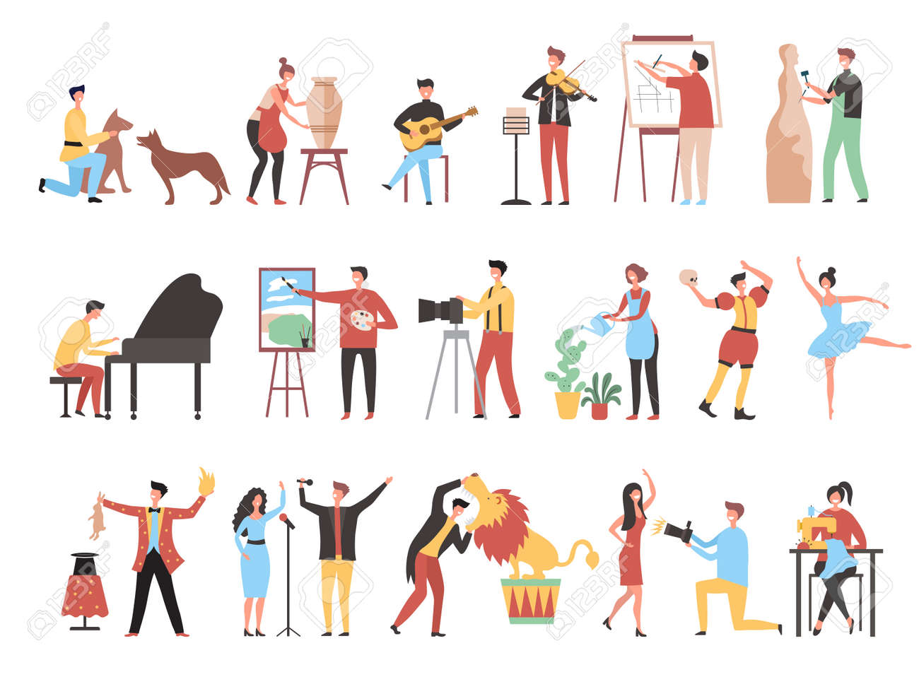 Creative occupation. Art work hobbies freelance artistic characters decorator painters artists photographers recent vector stylized persons working - 168828489