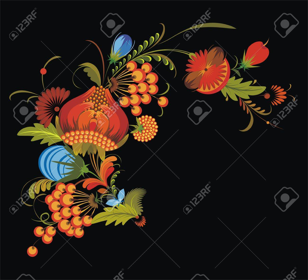 bunch of flowers on a black background Stock Vector - 9635651