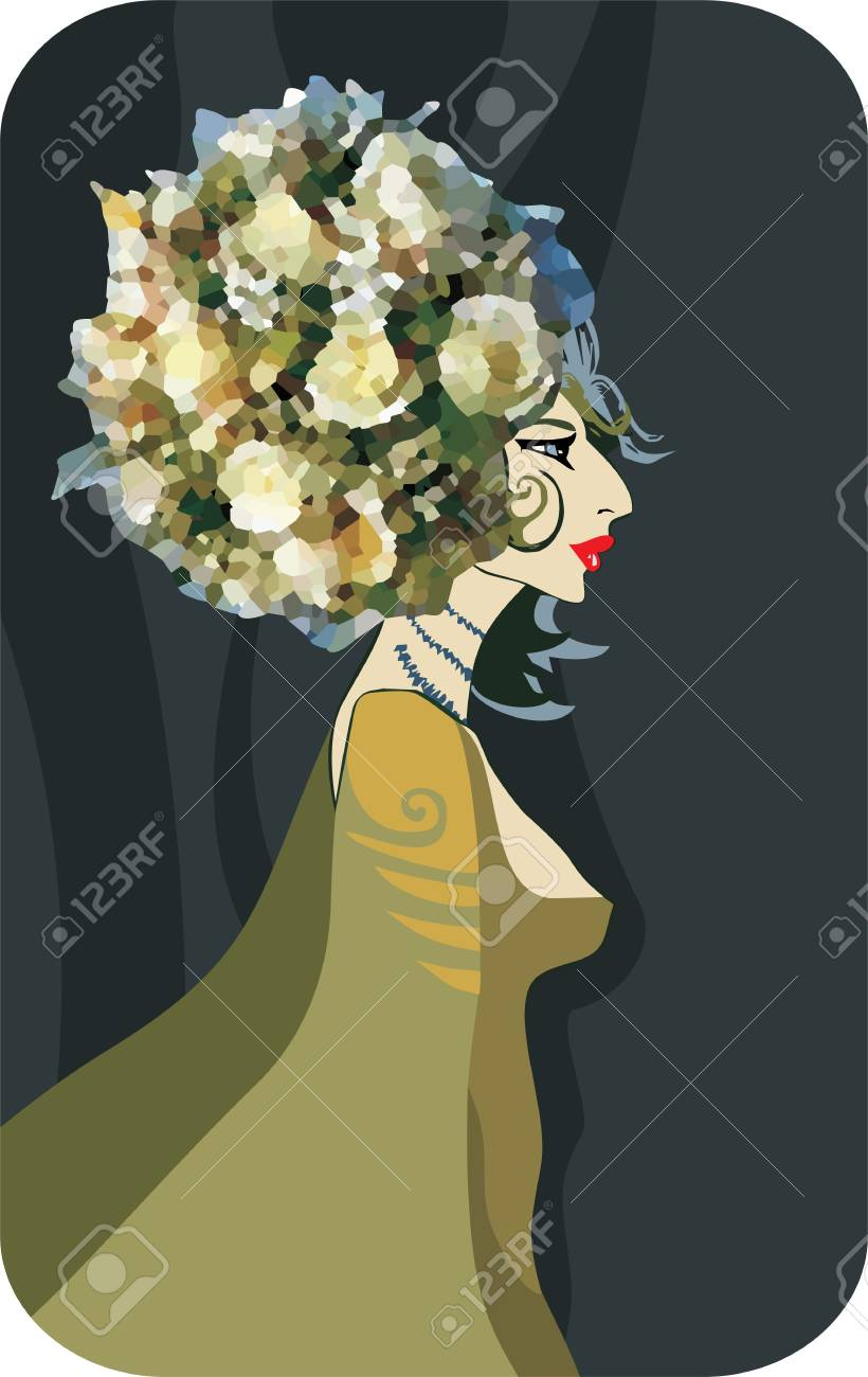 beautiful girl with flowers on a head Stock Vector - 11656801