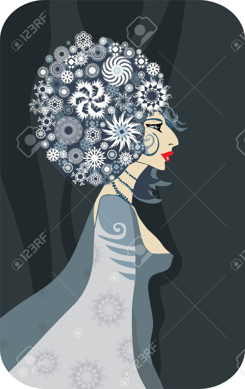 woman in a profile with red lips and hair from snowflakes Stock Vector - 11817756