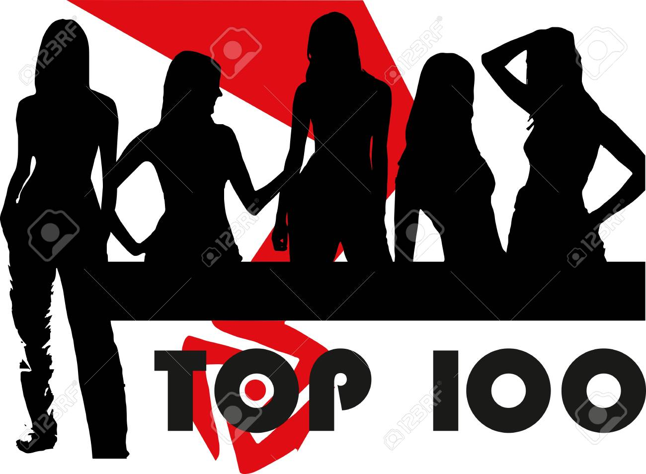 Silhouette of the girls set Stock Vector - 12481577