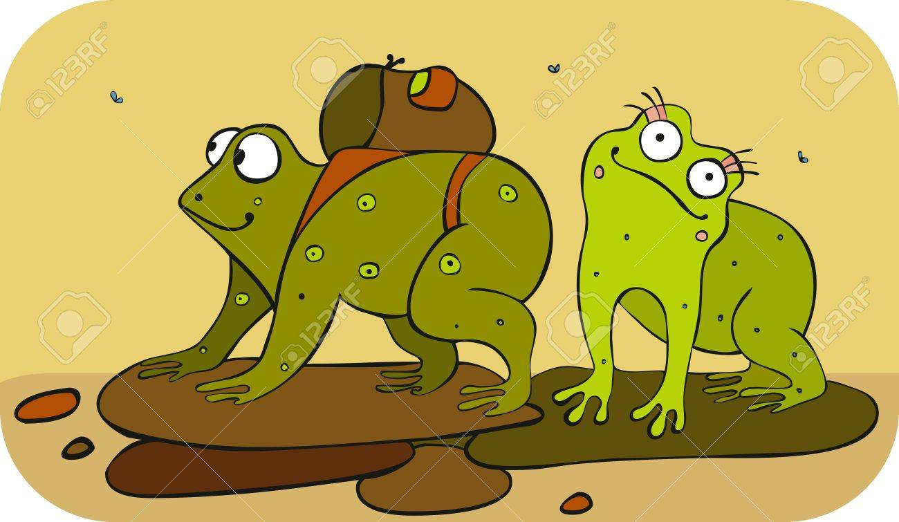 Two green frogs have gone to travel Stock Vector - 12942842