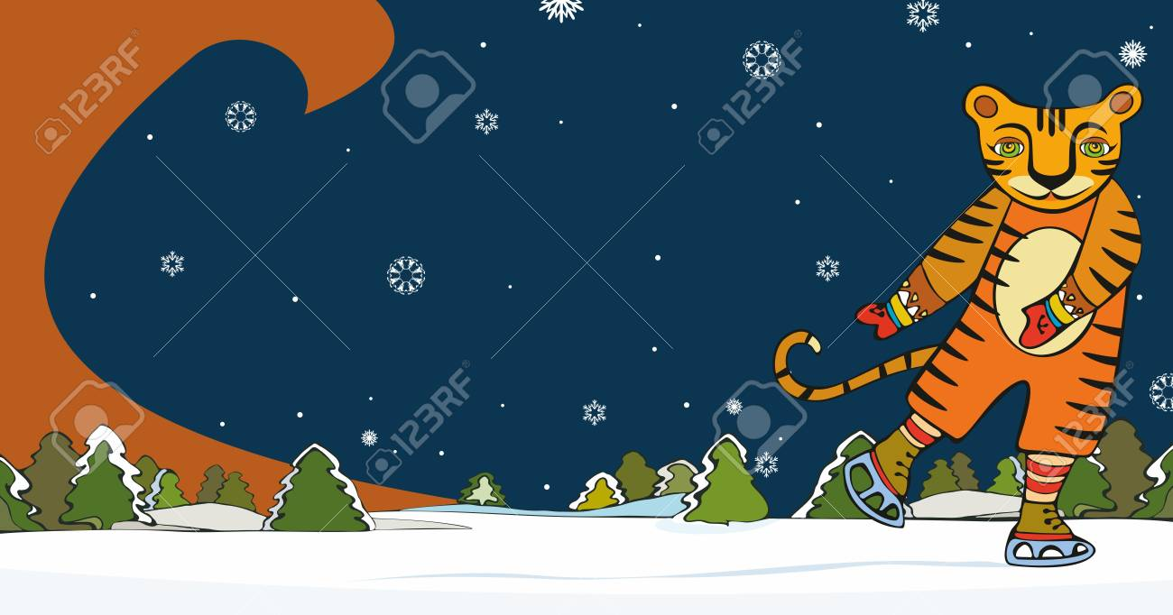 Tiger skating against a winter landscape Stock Vector - 13023019