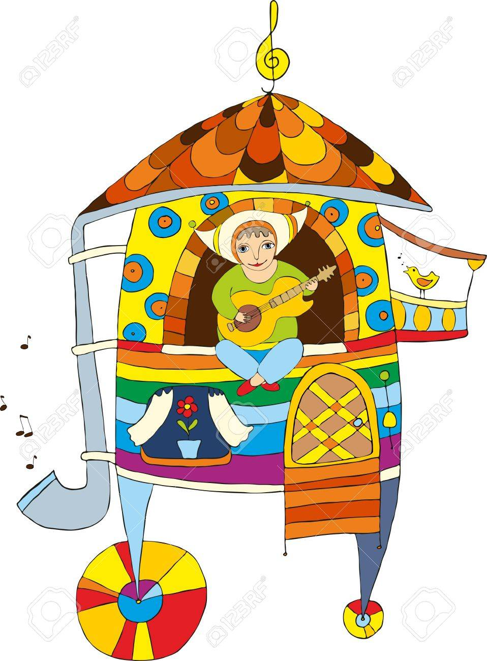 Fantastic mobile house with the boy playing a guitar Stock Vector - 13312461