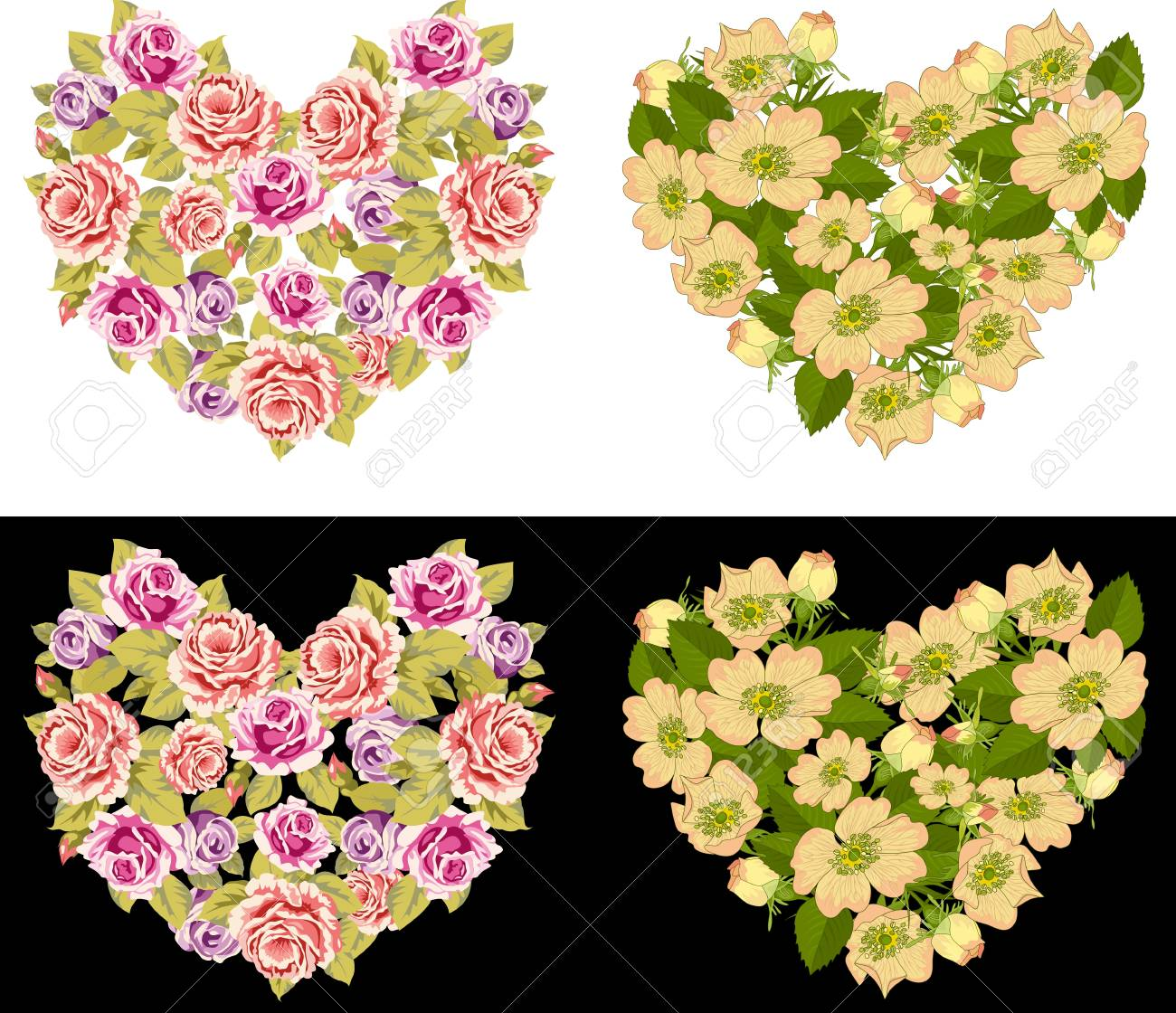 Two different heart  made of roses on a white and black background Stock Vector - 13383455