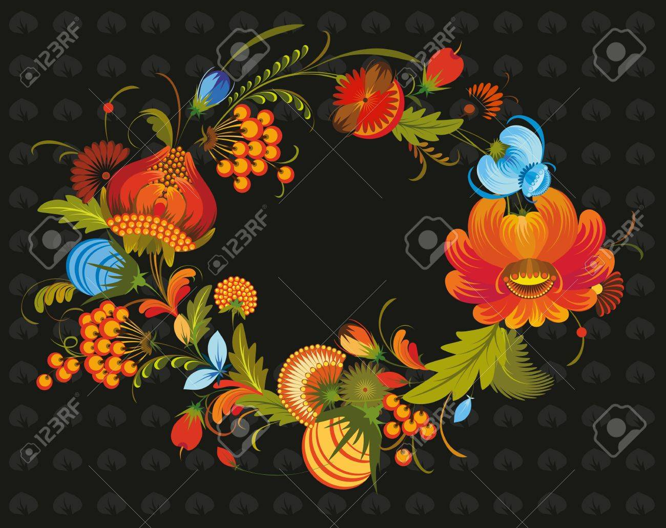 wreath out of bright flowers on a black background in national style Stock Vector - 13383440