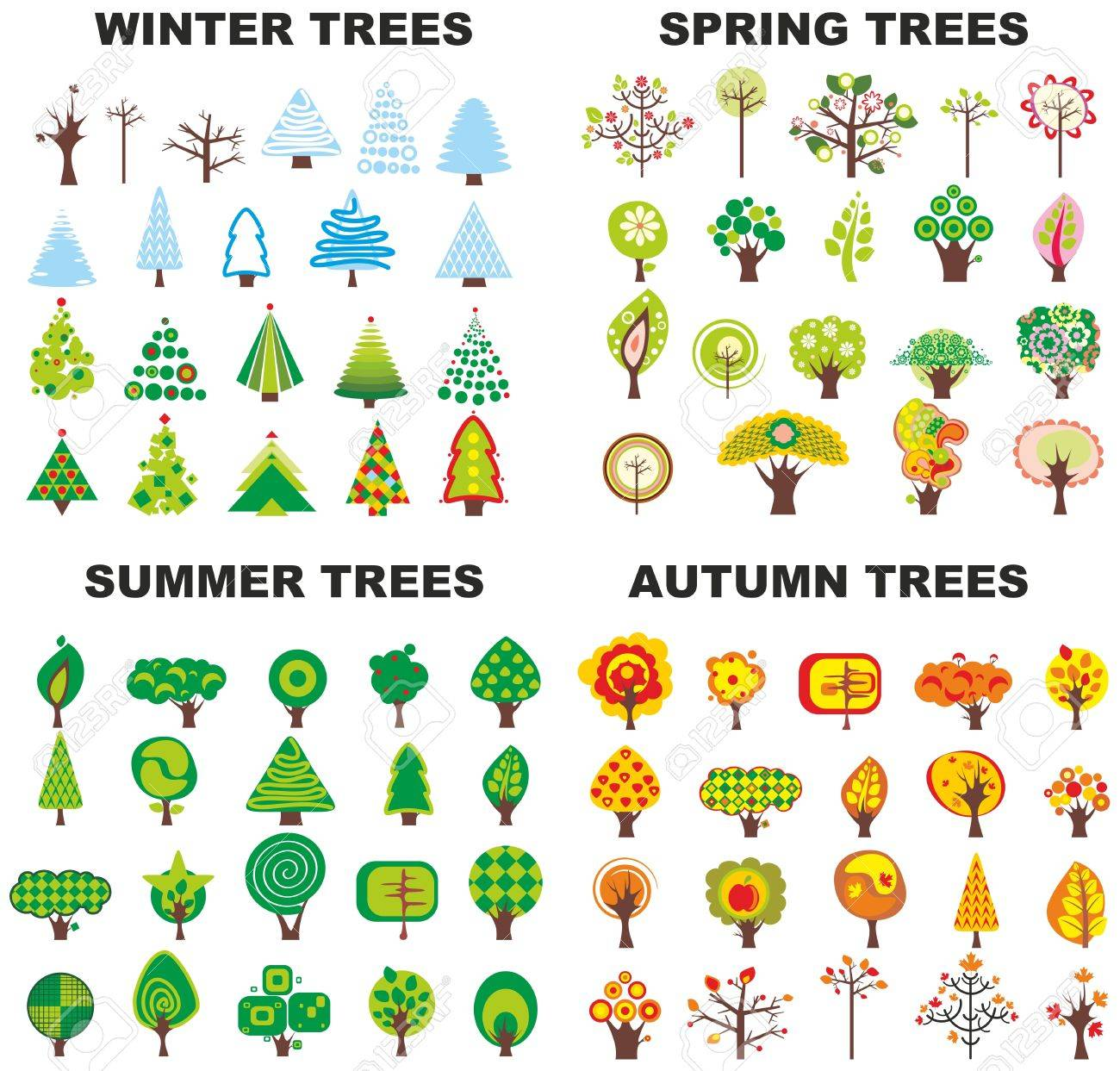 Set of trees located on seasons Stock Vector - 13383446