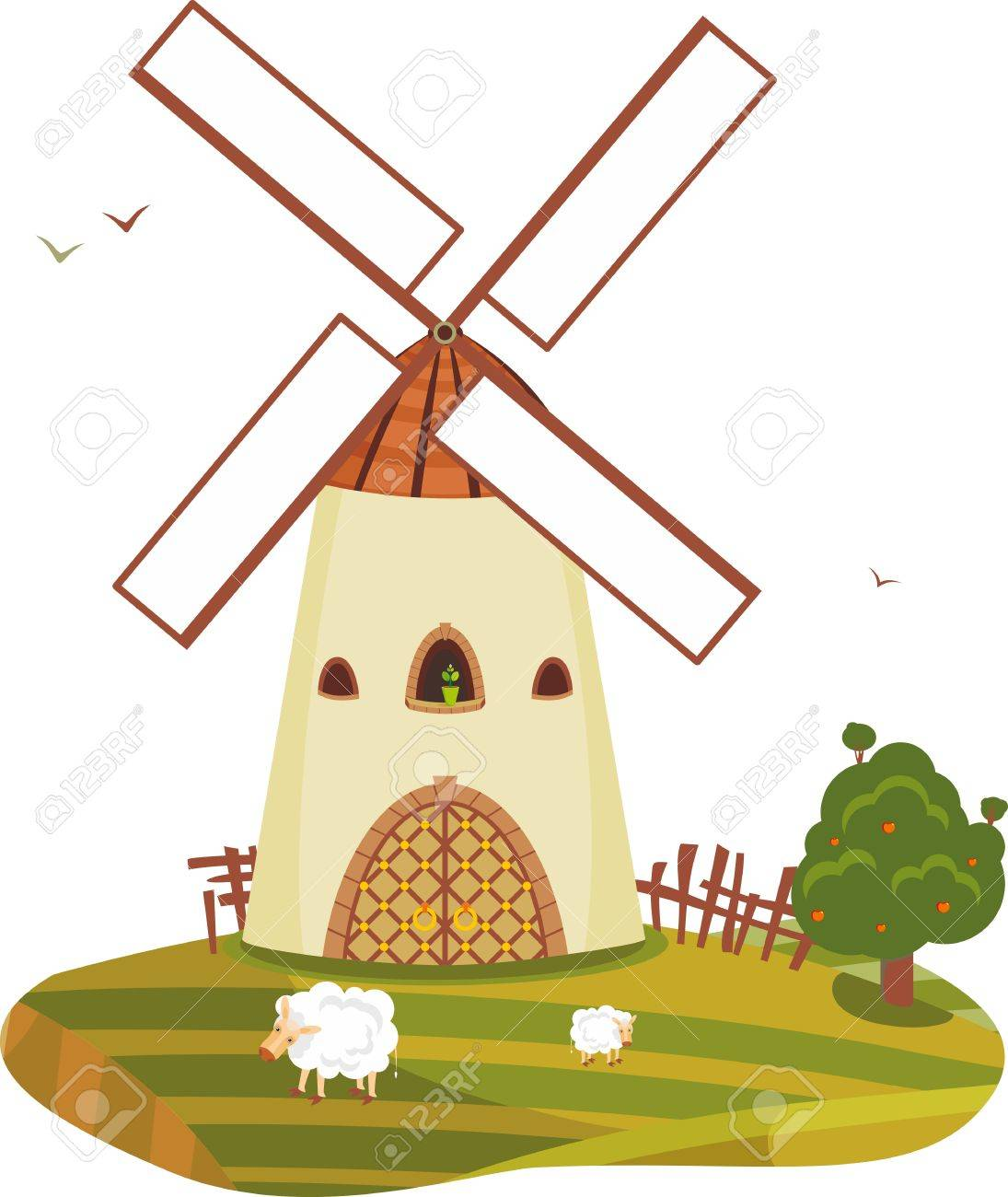 Rural landscape with a windmill an apple-tree and sheep Stock Vector - 13383420