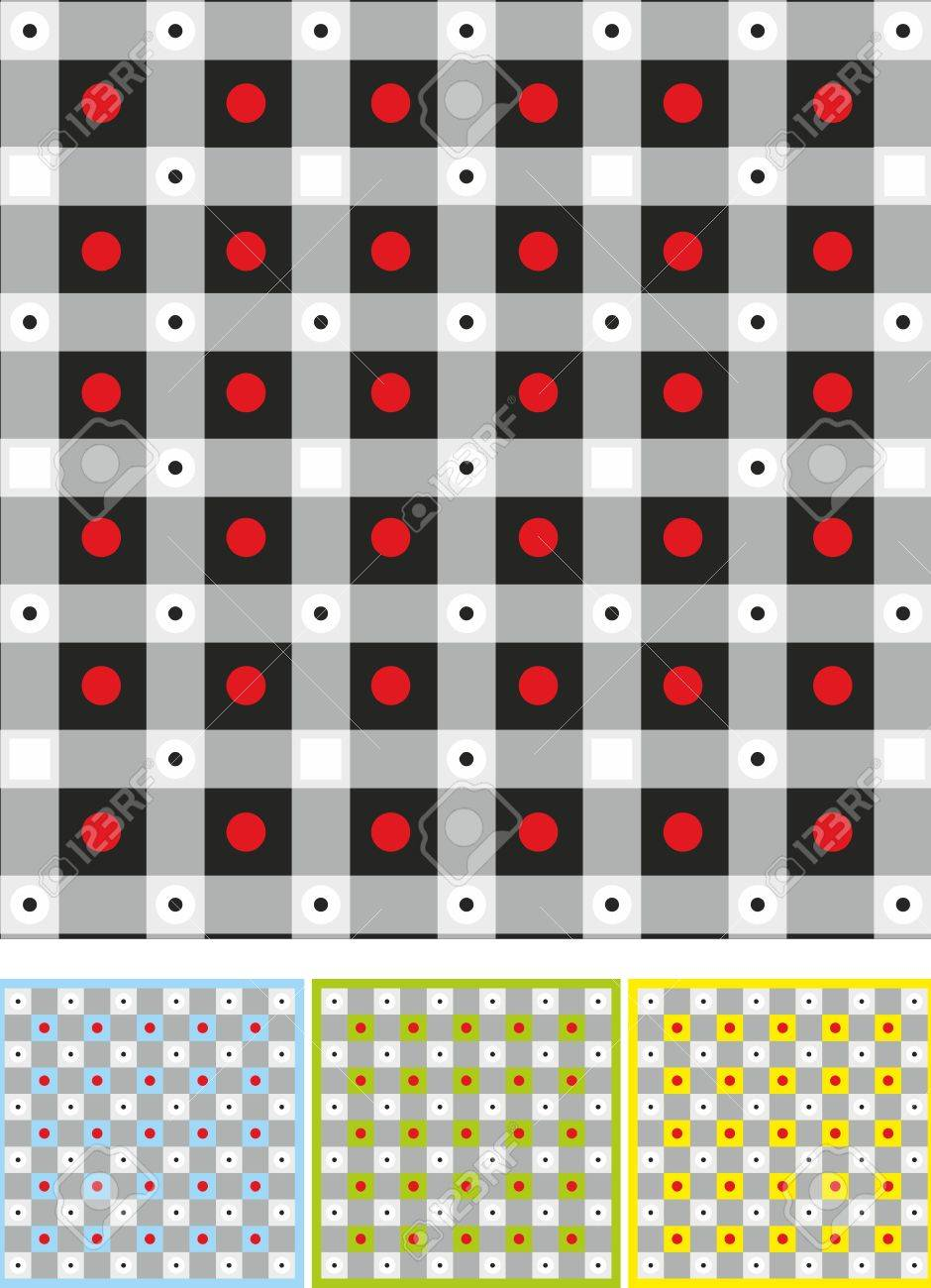 Background with black squares and red circles. Four colour variants Stock Vector - 13487357