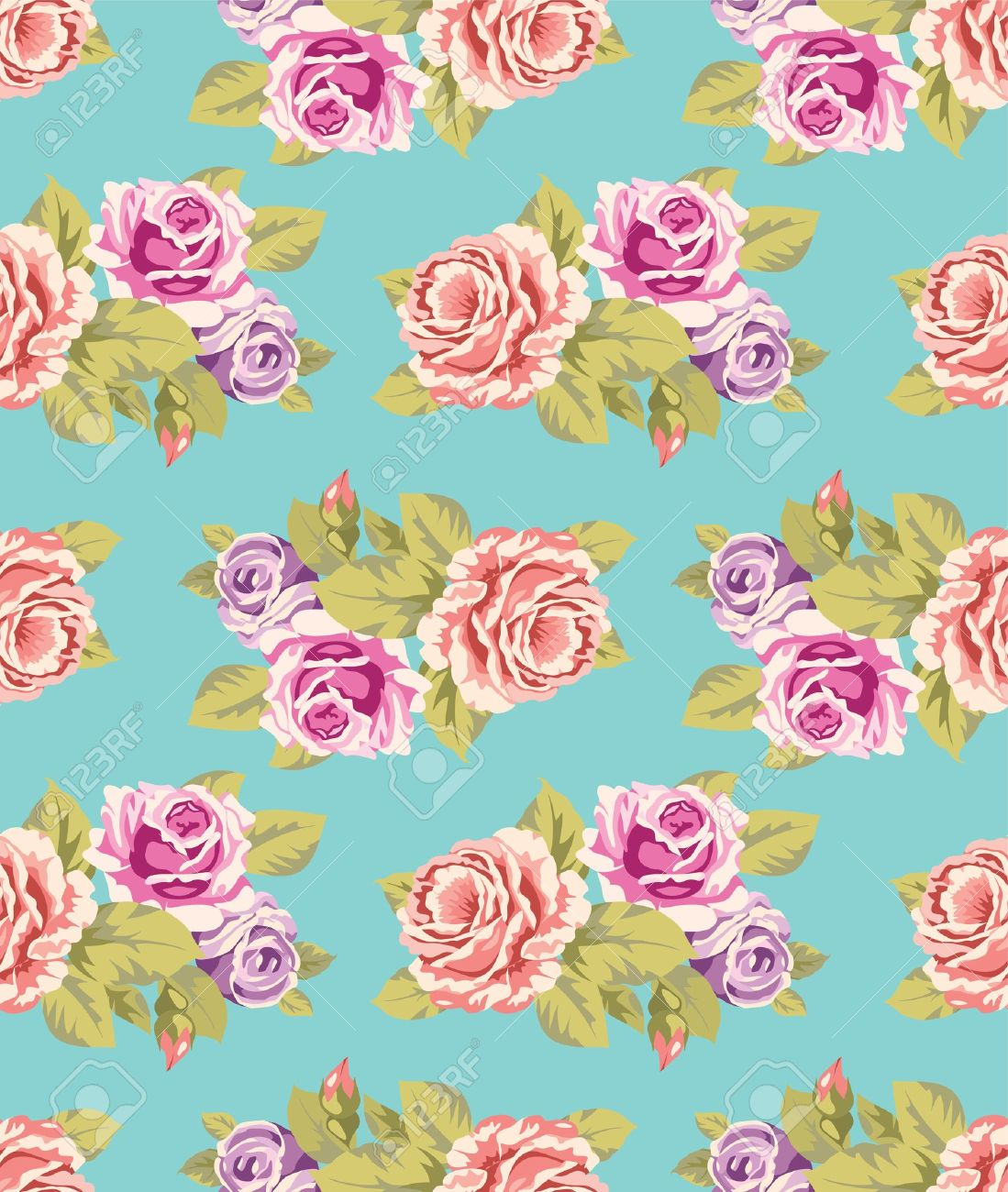 Seamless wallpaper pattern with of purple and pink roses on seamless wallpaper pattern with of purple and pink roses on turquoise background vector illustration stock mightylinksfo