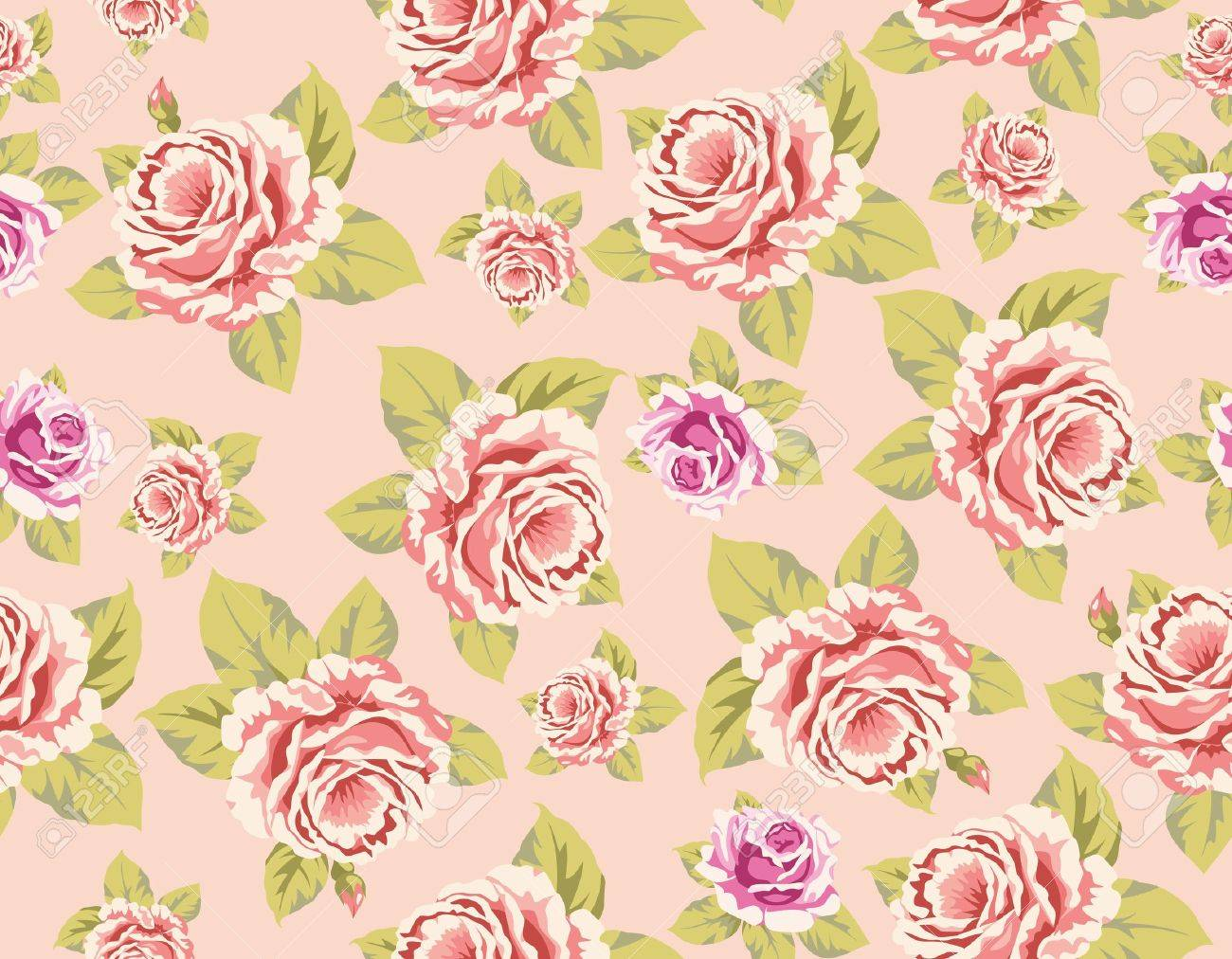 Seamless Wallpaper Pattern With Of Pink Roses On Yellow Background Vector Illustration Stock