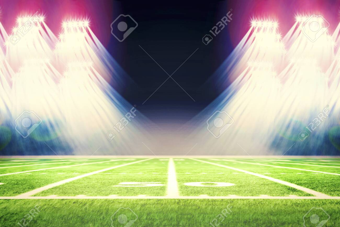 Football stadium with white lines marking the pitch. Perspective of football field. Perspective elements.Ragby football field with white lines marking the pitch. 3d illustration. - 139126234