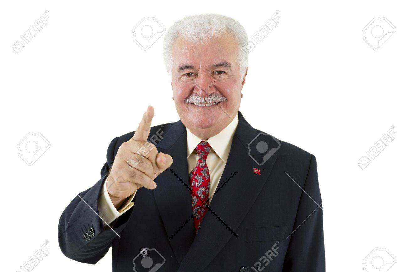 Politician making a point by pointing his finger Stock Photo - 13110882