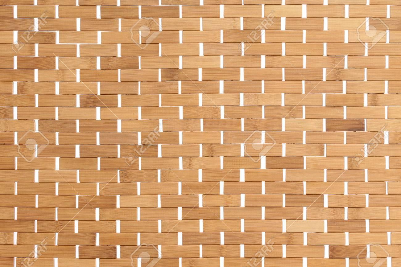 Textur Eines Gewebten Bambus Oder Rattan Matte Mit Naturfaser Detail
