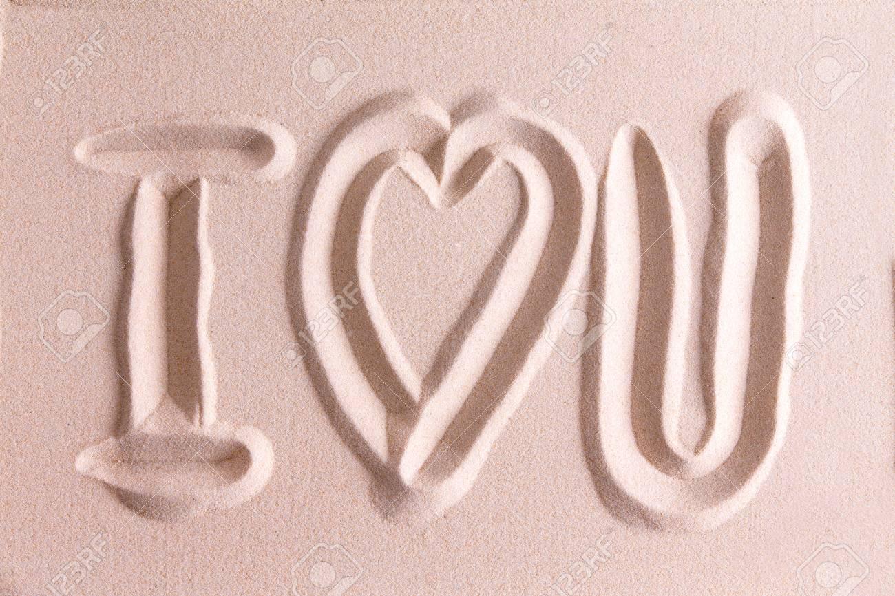 Ich Liebe Dich In Goldenen Strand Sand Mit Einem Symbolischen Herz