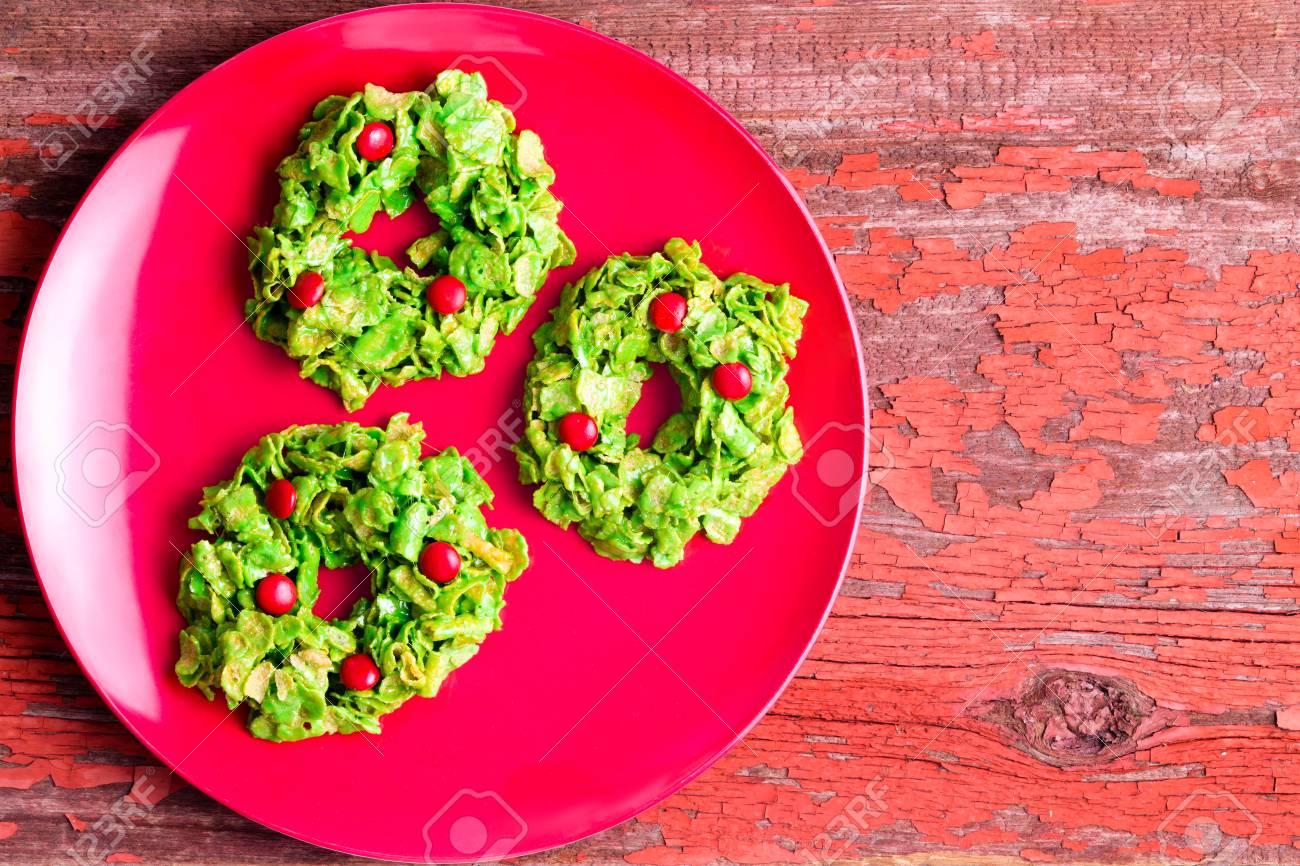Festive Colorful Green Christmas Cornflake Wreath Cookies Displayed