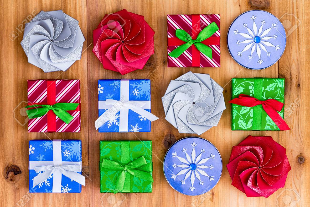 Top Down View On Twelve Cute Little Christmas Gift Boxes In Blue ...