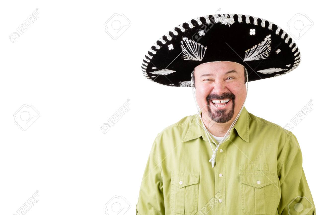 Happy middle aged man on holiday wearing a Mexican sombrero hat Stock Photo  - 67523617 9646e27e40f