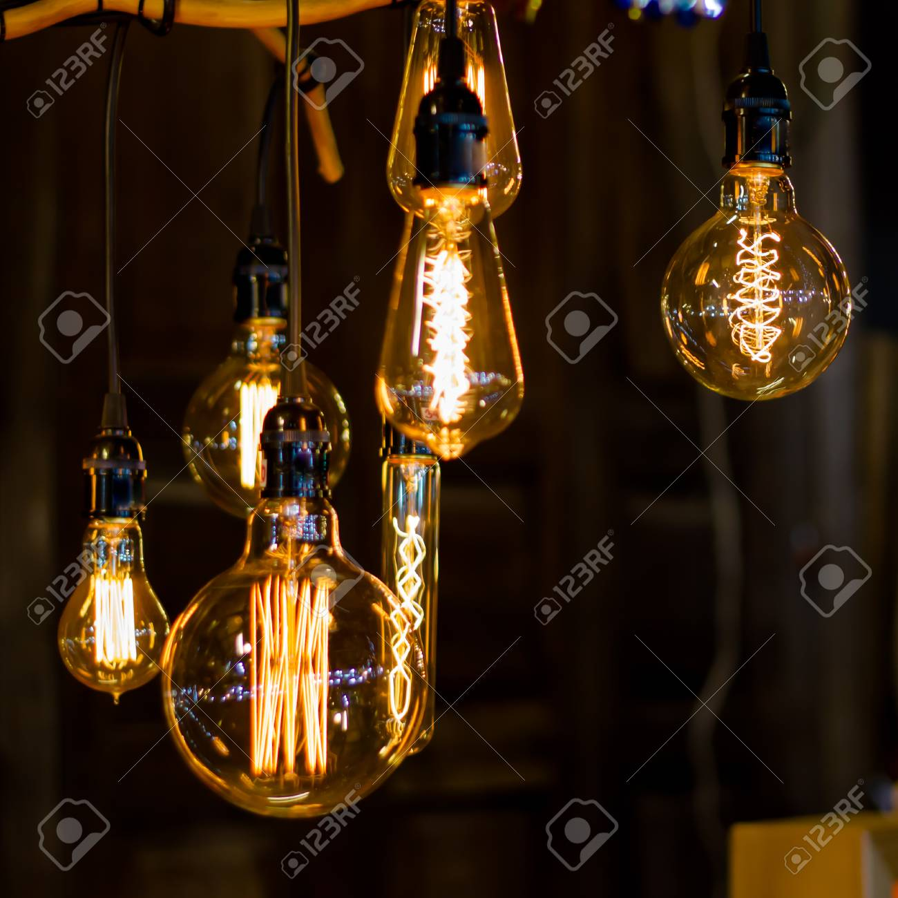 Using The Vintage Lamp Decorated Street Stalls Stock Photo Picture