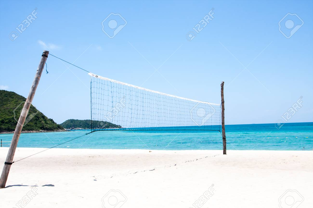 Beach Volleyball Court Has Sky And Turquoise Sea Beautiful Stock Photo Picture And Royalty Free Image Image 82405980