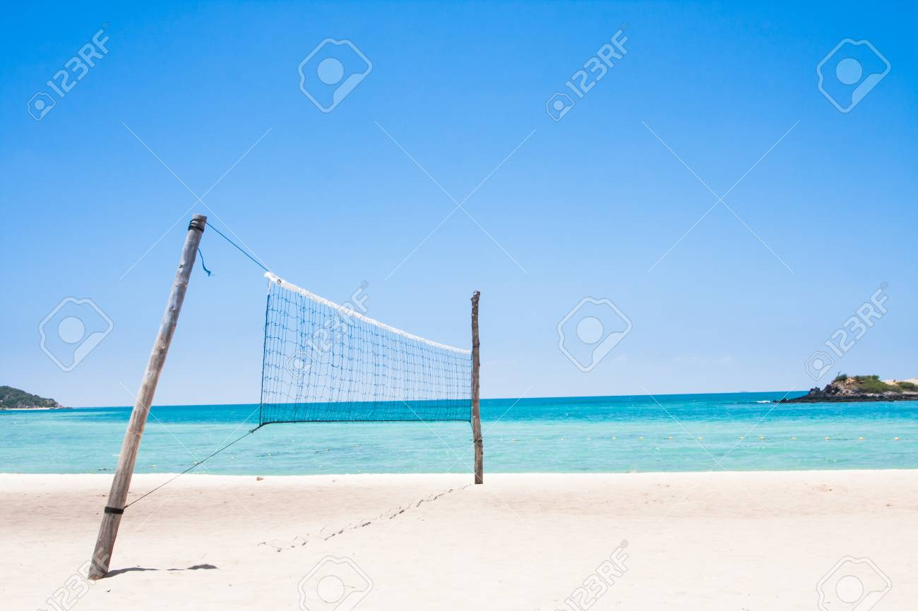 Beach Volleyball Court Has Sky And Turquoise Sea Beautiful Stock Photo Picture And Royalty Free Image Image 83489329