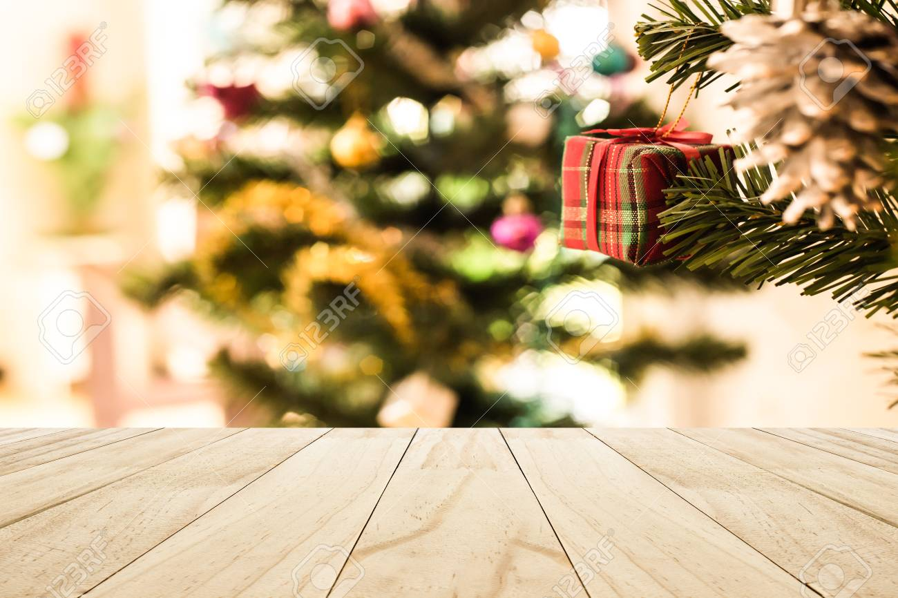 Perspective White Wood Floor Deck Green Christmas Tree With Balls Stock Photo Picture And Royalty Free Image Image 87968738