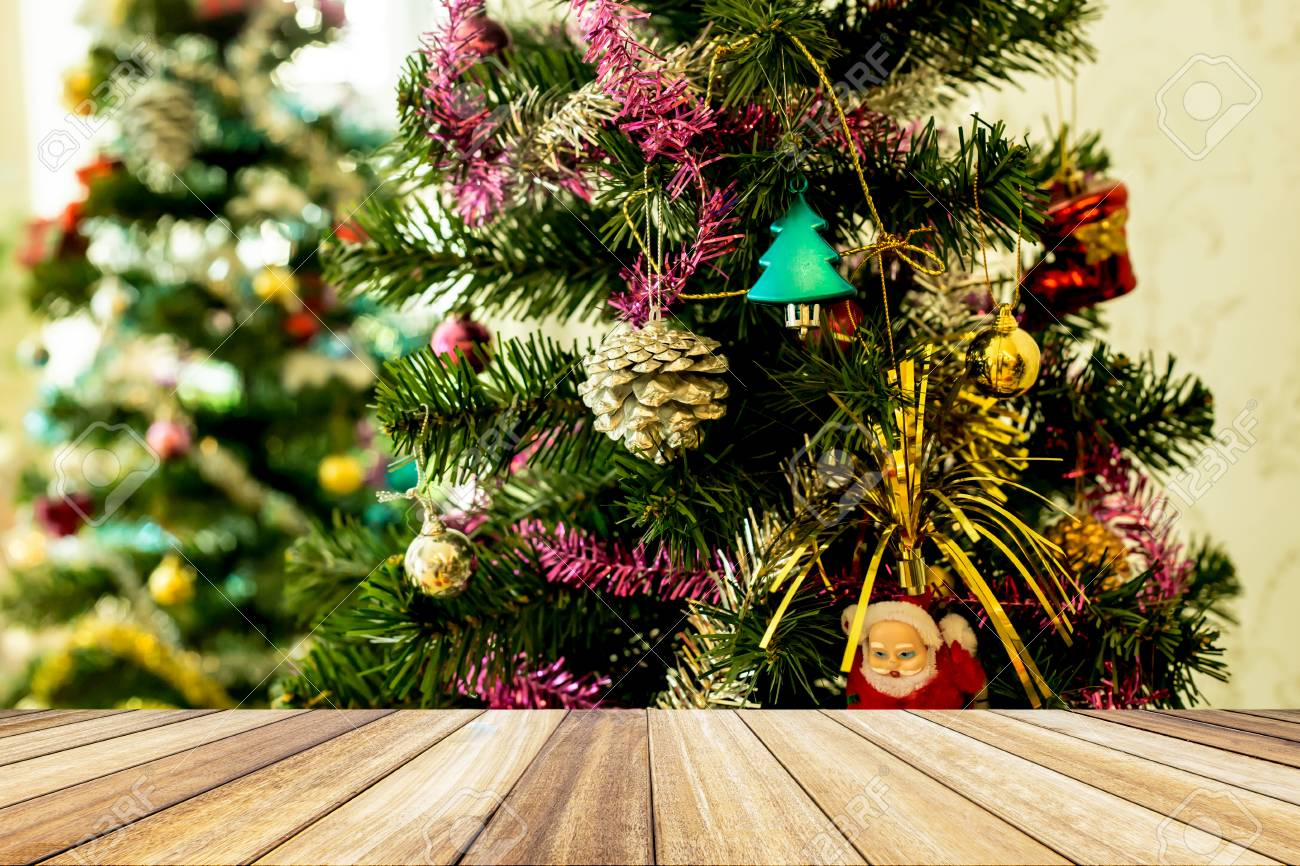 Perspective White Wood Floor Deck Green Christmas Tree With Balls Stock Photo Picture And Royalty Free Image Image 88714240