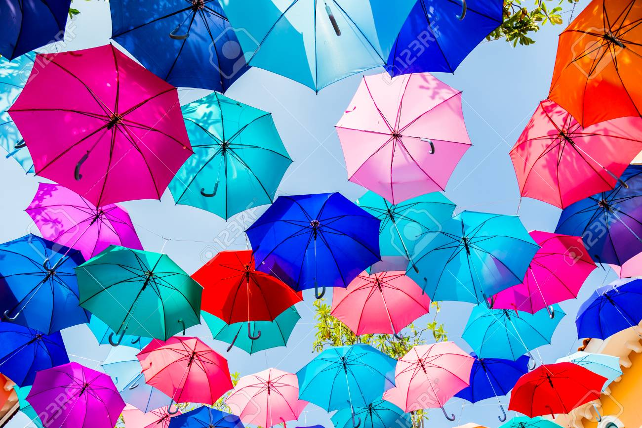 376c88ddd umbrellas colorful shade background is sky Decoration hanging..
