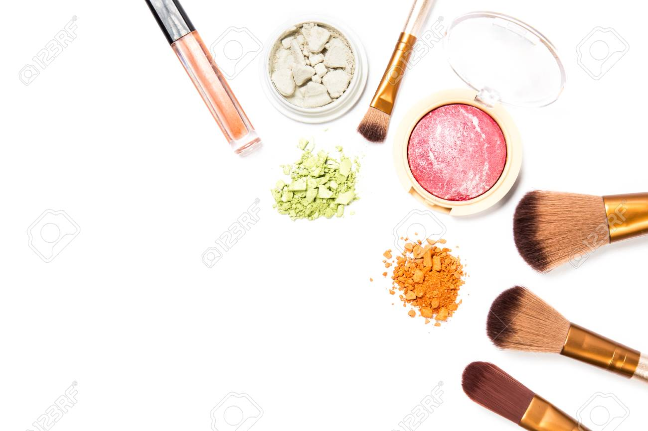 Cosmetic makeup set ,Eyebrow pencil, lipstick and blush on ,on white background. - 120696630