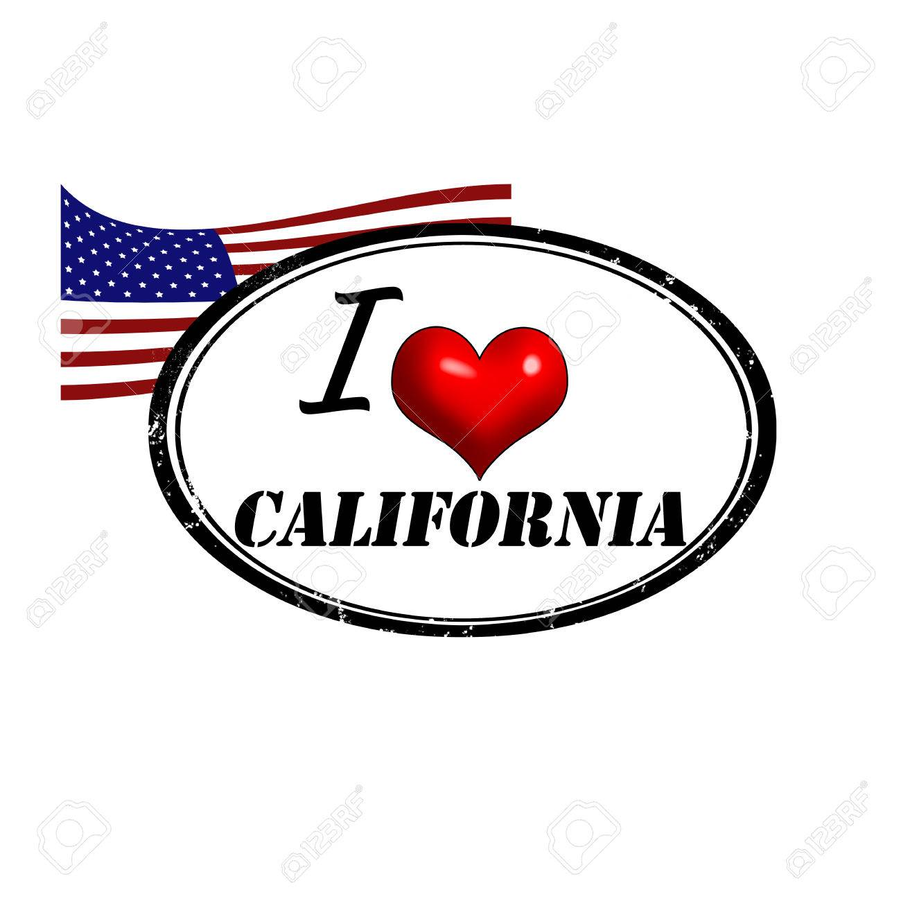 Grunge Stamp With Text I Love California Inside And USA Flag Vector Illustration Stock