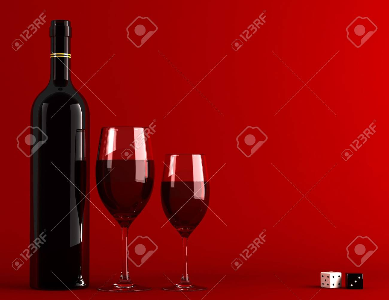 Bottle and glass of wine Stock Photo - 3711225