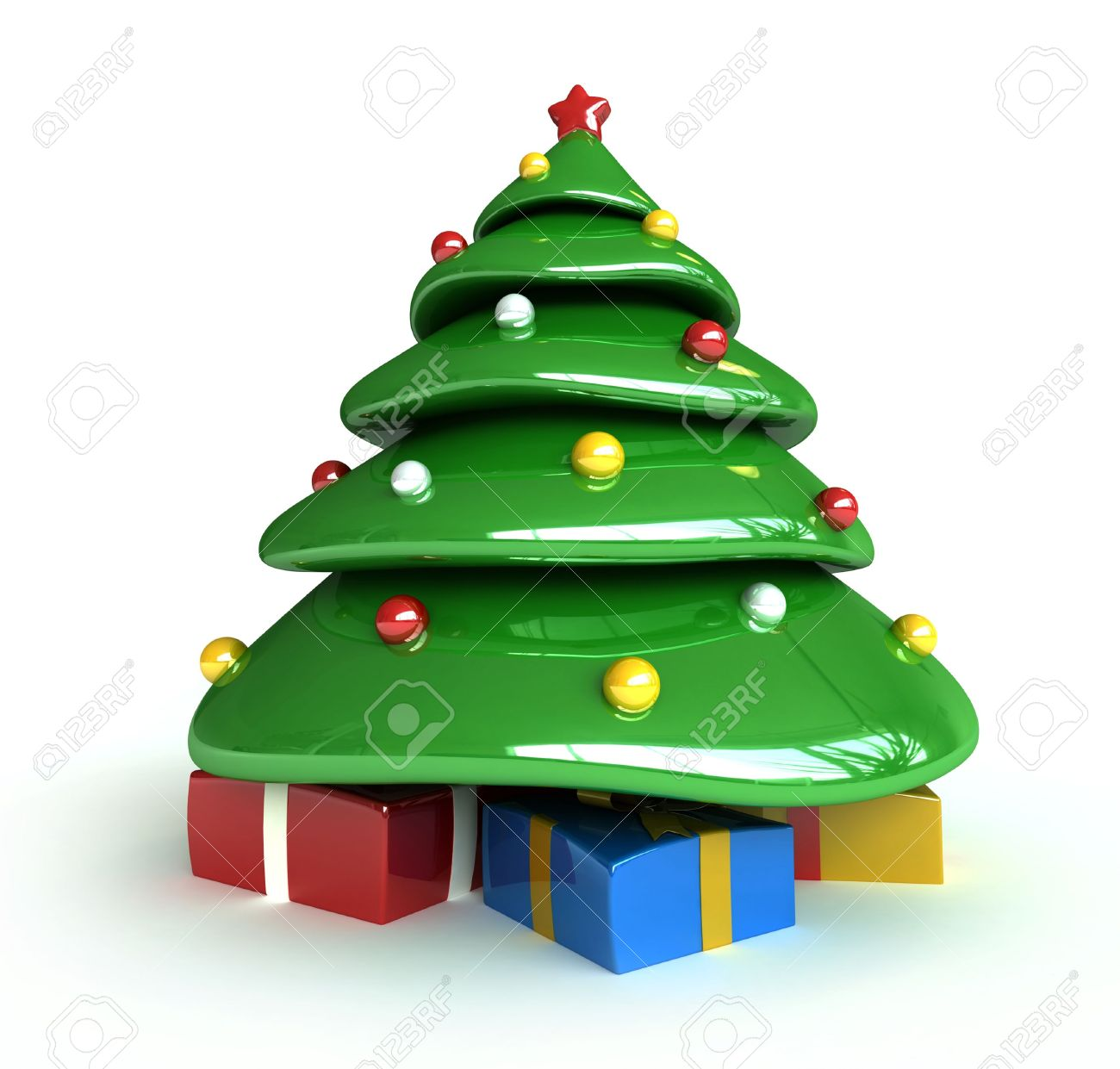 3d render of christmas tree cartoon style stock photo picture and