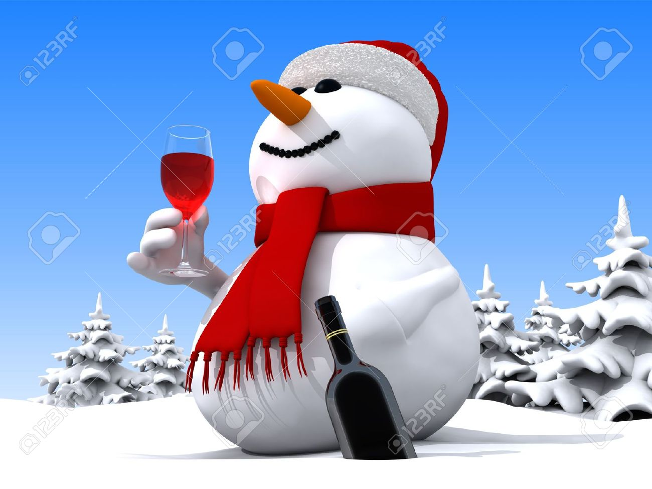 3D render of funny snowman Stock Photo - 6001458