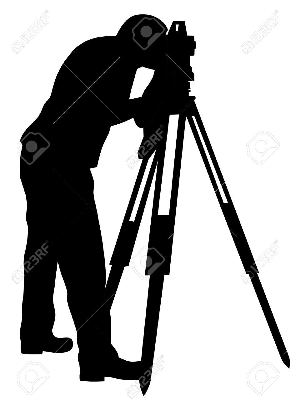 Abstract vector illustration of land surveyor silhouette Stock Vector - 9861021