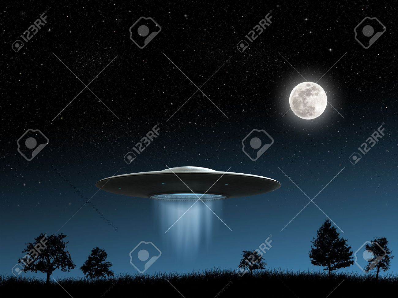 3d render of flying saucers ufo on night background Stock Photo - 10704749