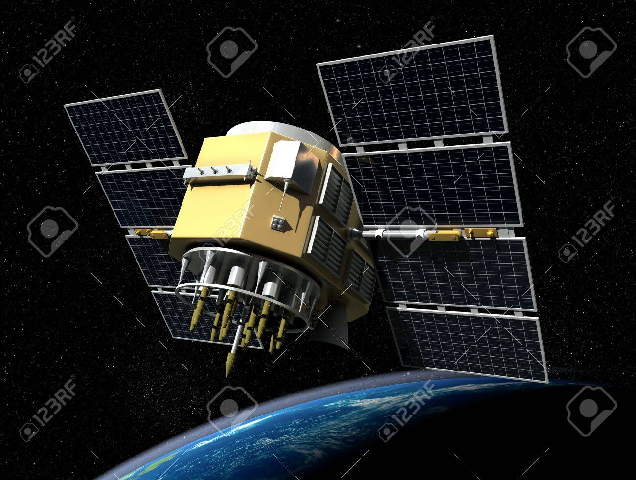 3d render of GPS satelite isolated on black background Stock Photo - 17753774