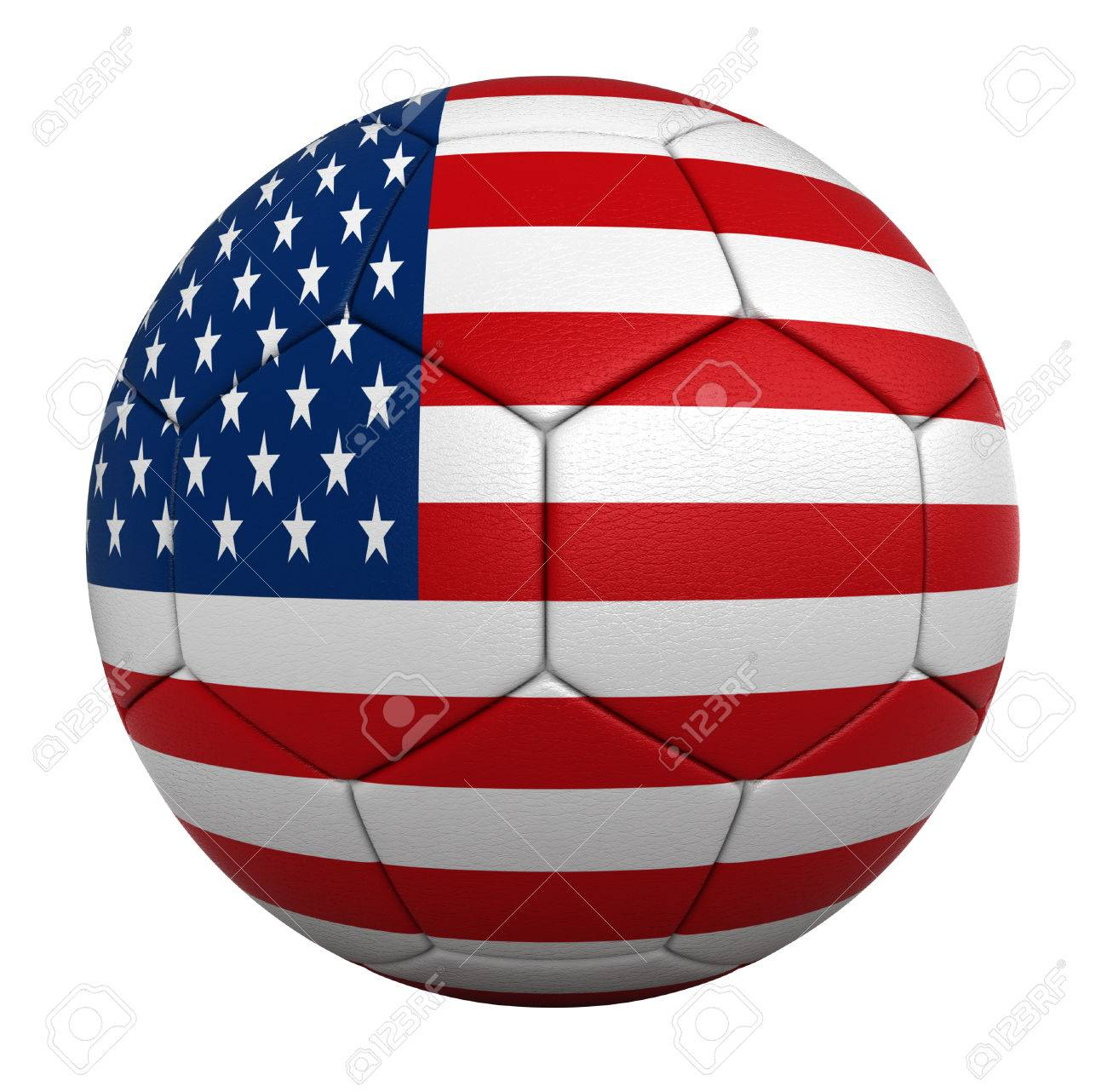 3d Rendesr Of Soccer Balls With Usa National Flags Stock Photo