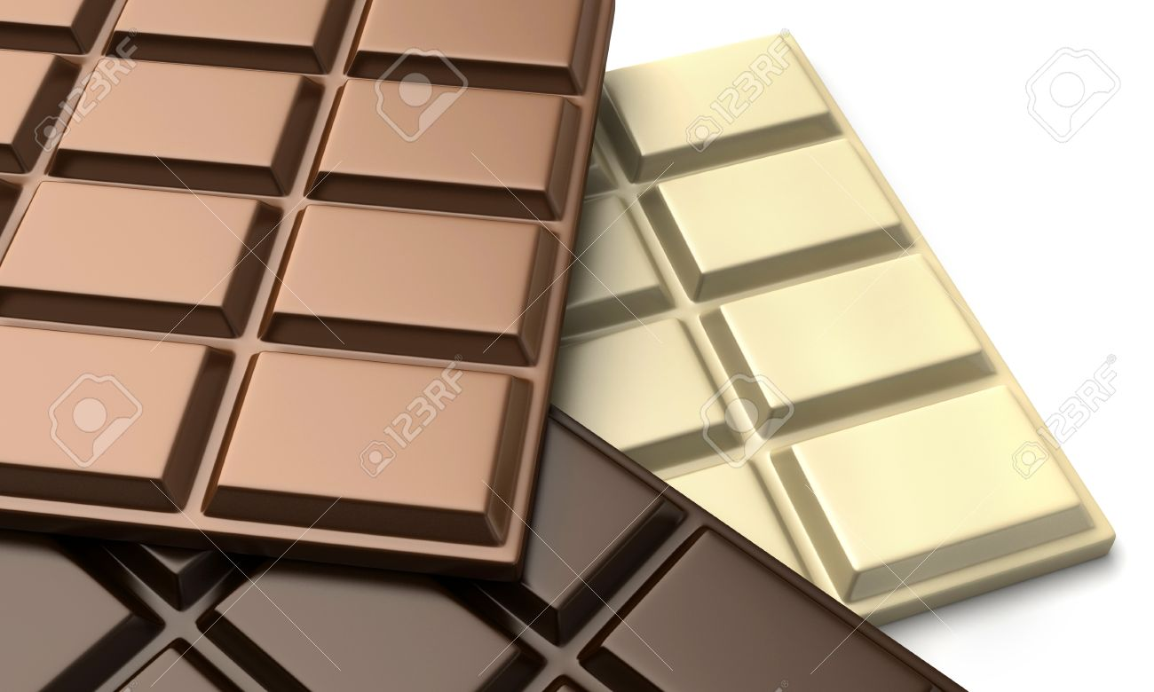 3d Render Of Various Types Of Chocolate Bars Stock Photo, Picture ...