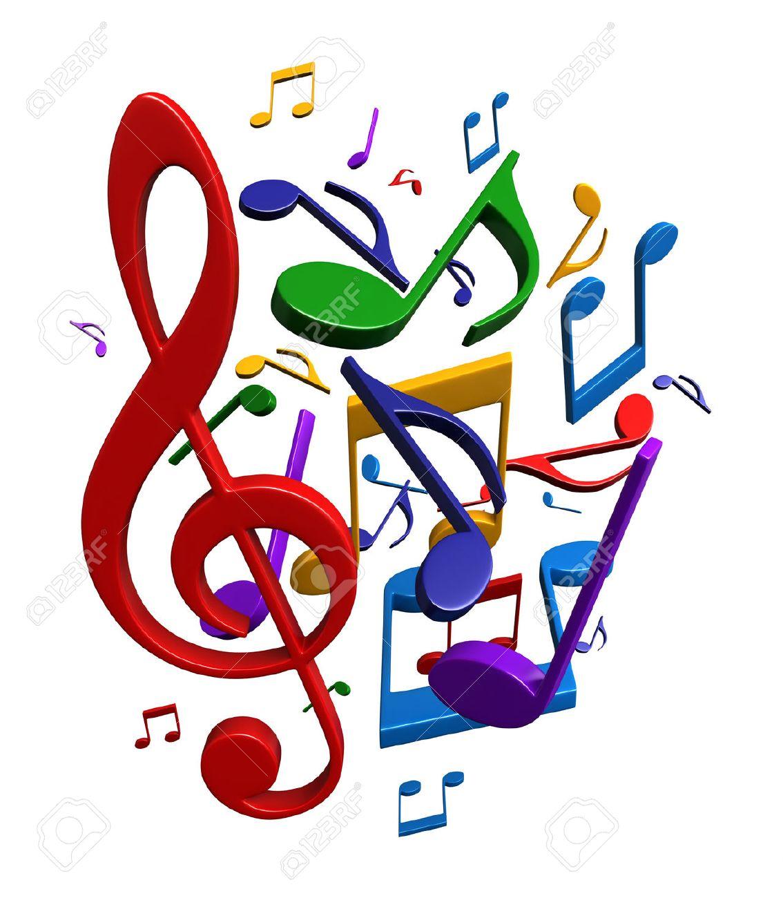 Representación 3d De Notas Musicales Abstractas Aisladas Sobre Fondo