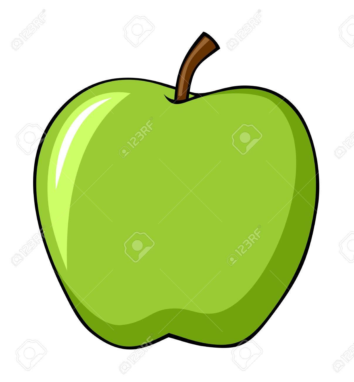 Dessin Pomme illustration abstraite du style de dessin animé de pomme verte clip
