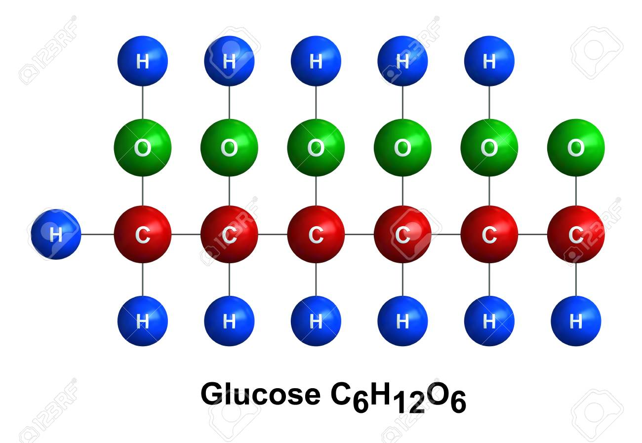 3d Render Of Molecular Structure Of Glucose Isolated Over White