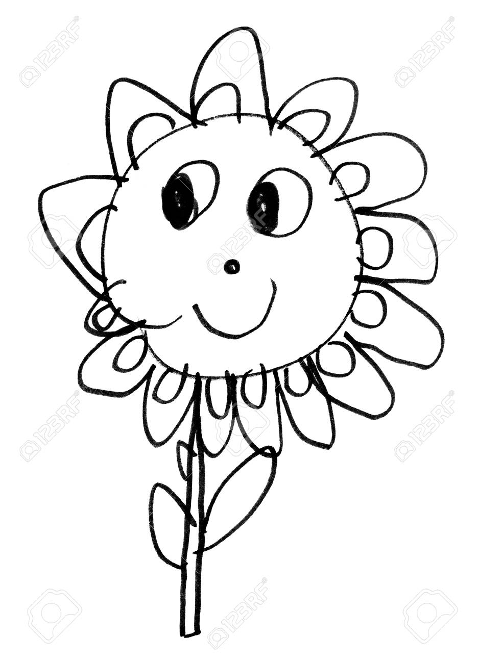Original Child S Drawing Of Flower With Black Marker On White