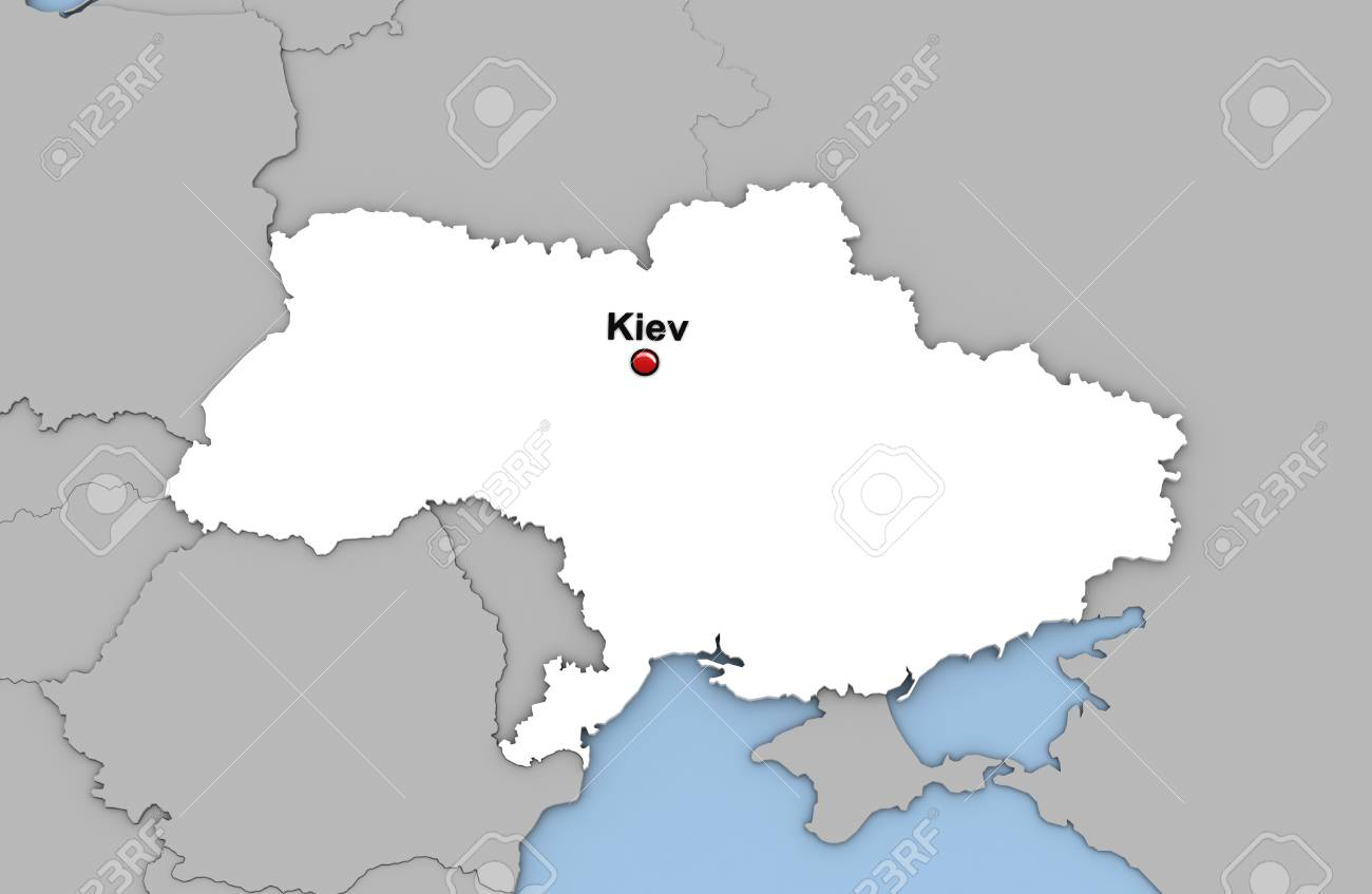 Abstract 3d Render Of Map Of Ukraine Highlighted In White Color