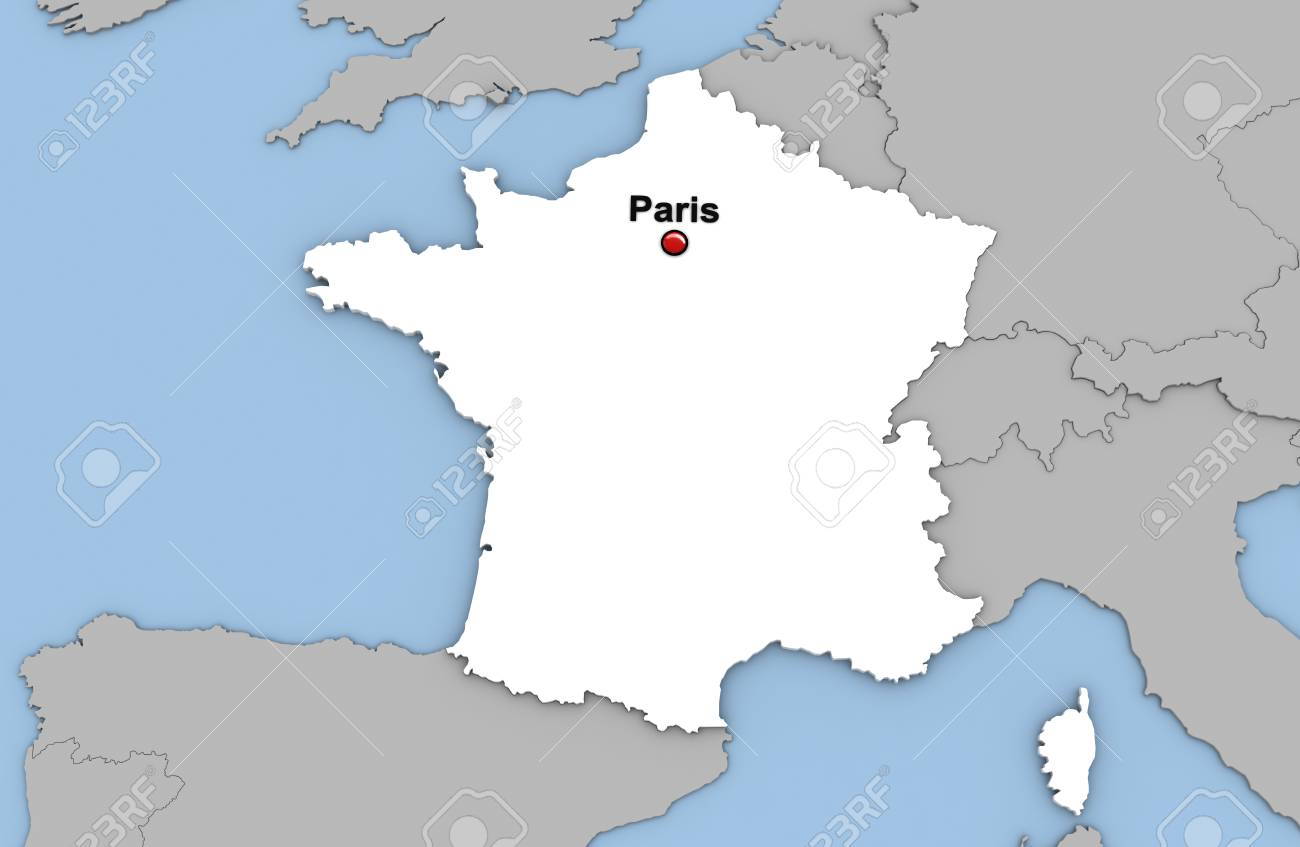 Abstract 3d render of map of France highlighted in white color..